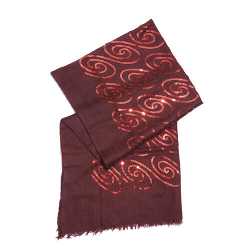 100% Merino Wool Sequins Embellished Maroon Colour Scarf with Fringes (Size 170X70 Cm)