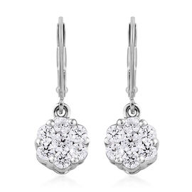 J Francis Platinum Overlay Sterling Silver (Rnd) Lever Back Earrings Made with Swarovski Zirconia