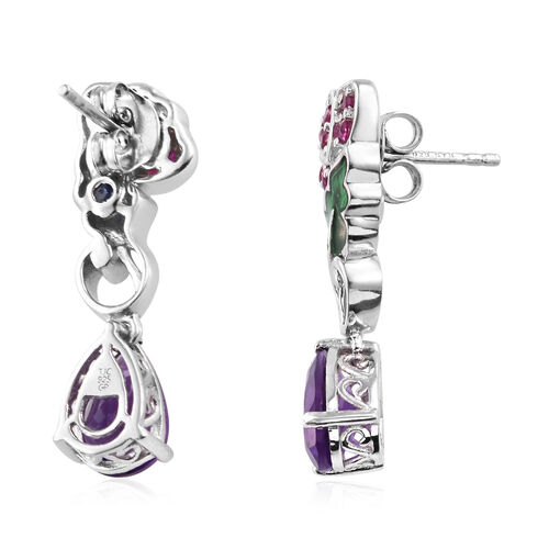 GP Amethyst (Pear), Burmese Ruby and Kanchanaburi Blue Sapphire Earrings (with Push Back) in Platinum Overlay Sterling Silver 3.860  Ct.