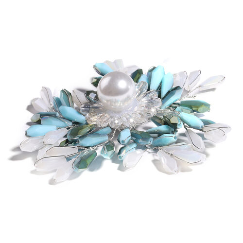 Simulated Blue and Multi Colour Gemstone and Simulated Pearl Floral Brooch
