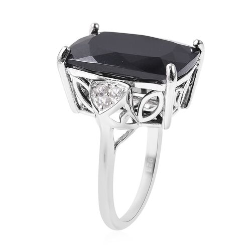 Black Tourmaline (Cush 18x13 mm), Natural White Cambodian Zircon Ring in Rhodium Overlay Sterling Silver 15.050 Ct.