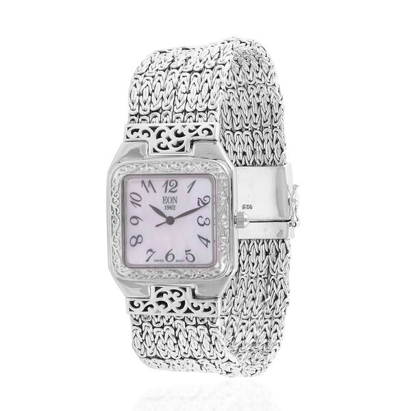 Royal Bali Collection EON 1962 Swiss Movement Sterling Silver MOP Tulang Naga Bracelet Watch (Size 6