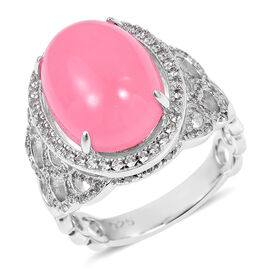 Pink Jade (Ovl 16x12 mm 11.250), Natural White Cambodian Zircon Ring in Rhodium Overlay Sterling Silver 12.150 Ct, Silver wt 6.32 Gms.