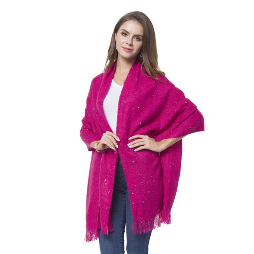 Italian Designer Inspired-Fuchsia and Multi Colour Knitted Scarf with Fringes (Size 196X56 Cm)