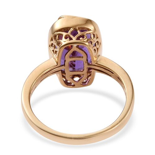 Lavender Alexite (Cush) Solitaire Ring in 14K Gold Overlay Sterling Silver 6.000 Ct.