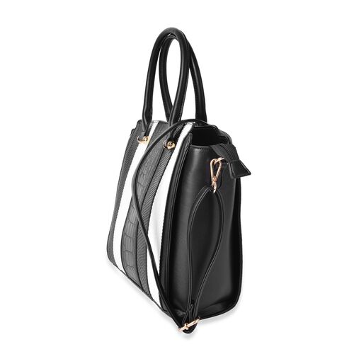Black and White Colour Snake and Croc Embossed Stripes Pattern Tote Bag with Removable Shoulder Strap (Size 37X29X28X12 Cm)