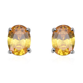 ELANZA Simulated Yellow Diamond Solitaire Stud Earrings in Rhodium Plated Sterling Silver