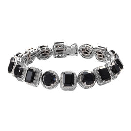 50 Carat Natural Boi Ploi Black Spinel Bracelet in Platinum Plated Silver 7.5 Inch