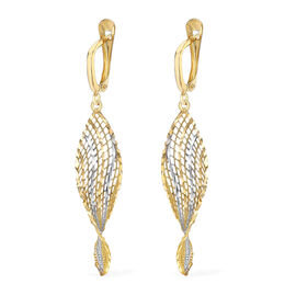 Italian Made - 9K White and Yellow Gold Diamond Cut Drop Earrings (With Clasp) , Gold wt 2.20 Gms.