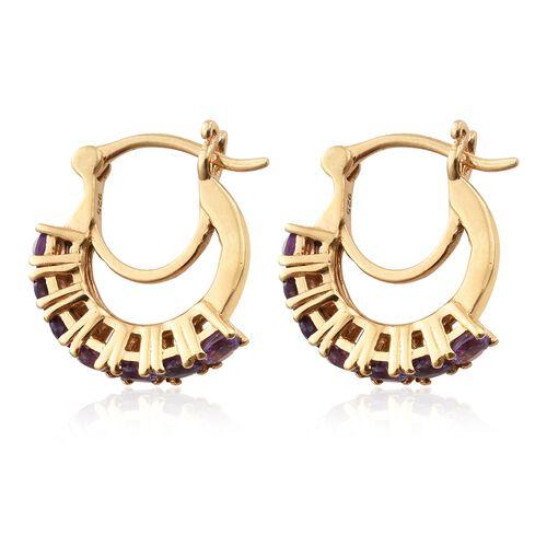 Amethyst Hoop Earrings in Gold Plated Silver 1.25 Ct