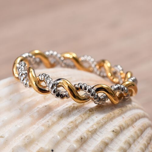 WEBEX- White and Rose Gold Overlay Sterling Silver Twisted Band Ring