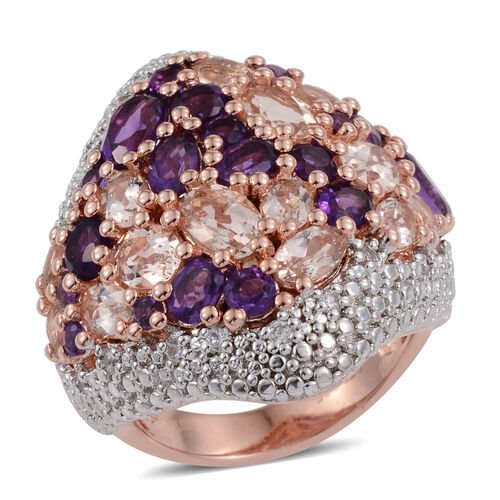 One Time Only Close Out Deal- Marropino Morganite (Ovl), Amethyst, Natural Cambodian Zircon Cluster Ring in Rose Gold Plated Sterling Silver 5.806 Ct. Silver wt 8.50 Gms.