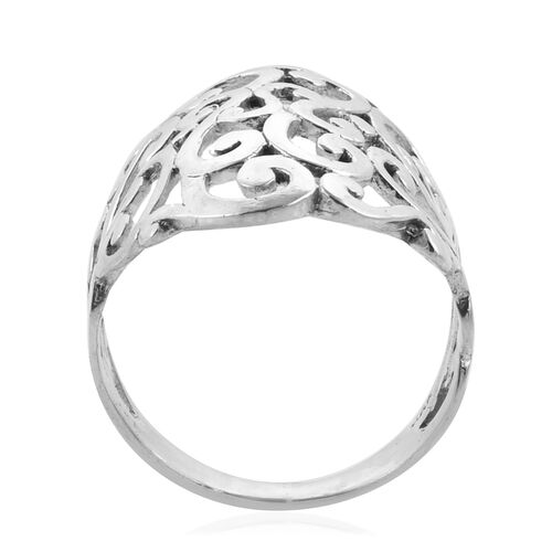 Royal Bali Collection Sterling Silver Filigree Wide Band Ring, Silver wt 5.51 Gms