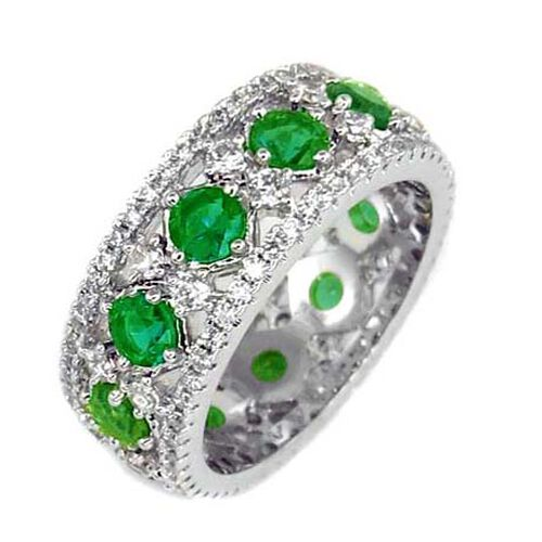 Simulated Diopside (Rnd), Simulated Diamond Full Eternity Ring in Silver Bond, Number of Simulated D