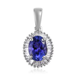 Rhapsody 1.10 Ct AAAA Tanzanite and Diamond Halo Pendant in 950 Platinum