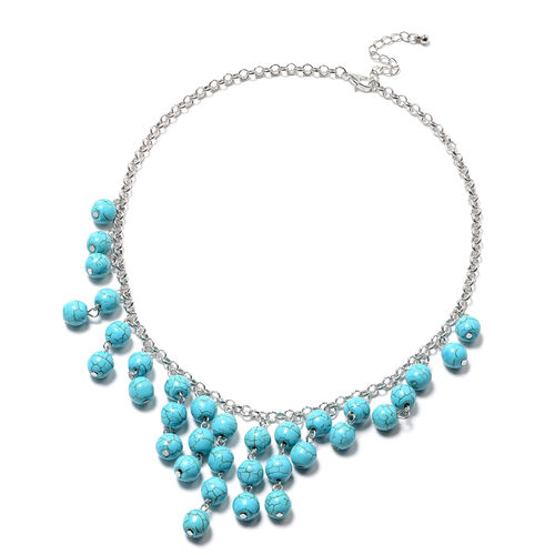Blue Howlite Necklace Necklace (Size 18 with 2 inch Extender) 204.00 Ct.