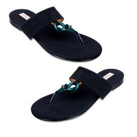 Inyati Leandra Open Toe Slip On Sandals in Black Colour