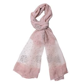 First Time Ever - Crystal Studded Floral Pattern Rose and White Colour Scarf (Size 190x65 Cm)