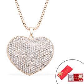 Monster Deal -White Austrian Crystal Heart Pendant with Chain in Gold Tone