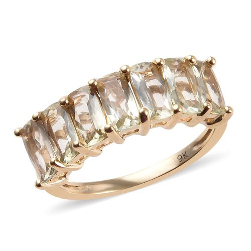2 Carat AA Turkizite Half Eternity Ring in 9K Yellow Gold 2.27 Grams
