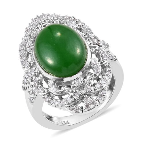 7.75 Ct Green Jade and Zircon Classic Ring in Platinum Plated Silver 6.90 Grams