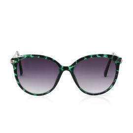 Designer Inspired Leopard Print Fashion Sunglasses - Green