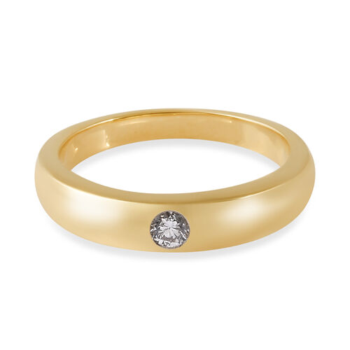 ILIANA 18K Yellow Gold IGI Certified Diamond (SI/G-H) Flush Set Solitaire Band Ring, Gold wt 5.00 Gms