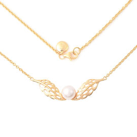 RACHEL GALLEY - Freshwater White Pearl Feather Necklace (Size 24)  in Yellow Gold Overlay Sterling S