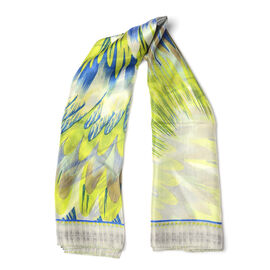 100% Mulberry Silk Grey, Lime and Blue Colour Scarf (Size 100x100 Cm)