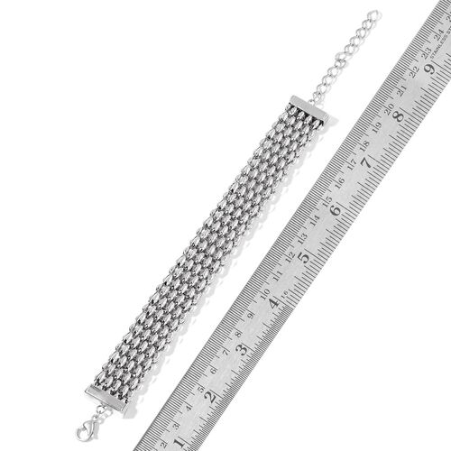 Flat Mesh Necklace (Size 18 with 2 inch Extender), Adjustable Bracelet (Size 8 with 2 inch Extender) and Ball Stud Earrings (with Push Back) in Silver Tone