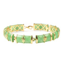 51.25 Ct Green Jade Chinese Style Station Bracelet in Gold Plated Silver 9.80 Grams 7.5 Inch