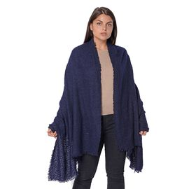 Winter Scarf with Small Fringes (Size 80x190 Cm) - Navy Blue
