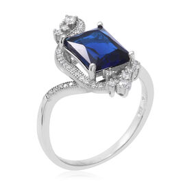 ELANZA Simulated Tanzanite (Oct), Simulated Diamond Ring in Rhodium Overlay Sterling Silver