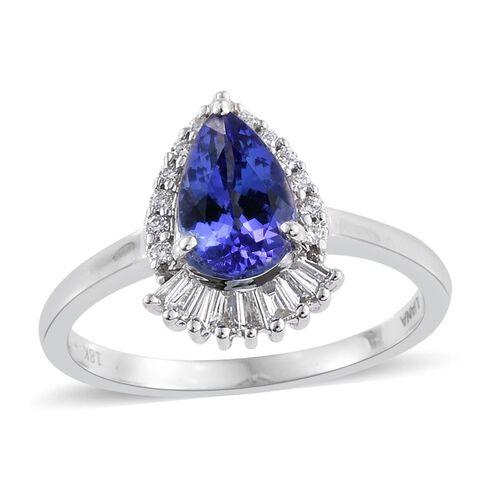 ILIANA 18K White Gold AAA Tanzanite (Pear 1.30 Ct), Diamond (SI/G-H) Ring 1.500 Ct.