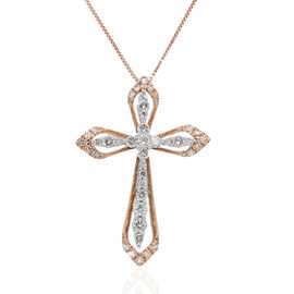 14K Rose Gold Diamond (I1-I3/G-H) Cross Pendant with Chain (Size 18) 0.75 Ct.