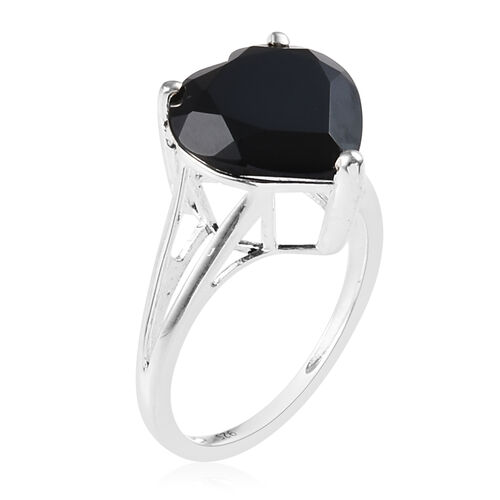 Boi Ploi Black Spinel (Hrt) Solitaire Ring in Sterling Silver 7.000  Ct.