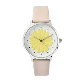 STRADA Japanese Movement Yellow Daisy Floral Water Resistant Watch with Ivory Colour Strap