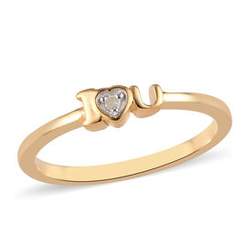 Diamond I-Heart-You Ring in Platinum and Yellow Gold Overlay Sterling Silver
