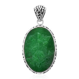Royal Bali Collection 19.02 Ct Carved Green Jade Reversible Butterfly Pendant in Silver 7.40 Grams