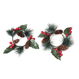 Set of 2 - Mini Candlestick wreath Embellished with Red Berry, Pine Cone and Leaf (Size 7 Cm)