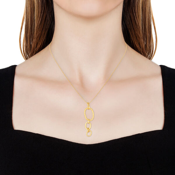 RACHEL GALLEY Allegro Link Yellow Gold Overlay Sterling Silver Pendant With Chain (Size 30), Silver wt 12.32 Gms