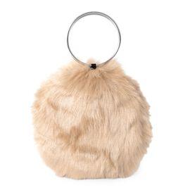Camel Colour Faux Fur Bag (Size 20x19 Cm)