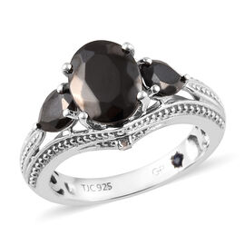 GP 1.59 Ct Elite Shungite and Multi Gemstone Classic Ring in Platinum Plated Silver