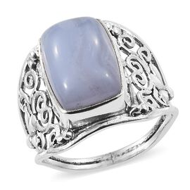 Artisan Crafted Blue Lace Agate Ring in Sterling Silver 8.210 Ct.