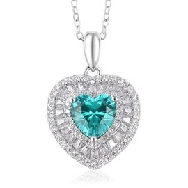 Signature Collection- ELANZA AAAA Simulated Colombian Emerald  (Hrt), Simulated Diamond Pendant With