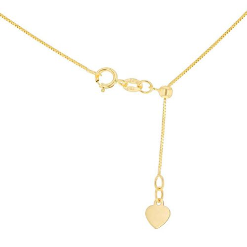 9K Yellow Gold Adjustable Sliding Box Chain (Size 22)