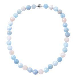 Premium Size Multi Aquamarine and Morganite Round 11-13mm Beads Necklace (Size 20) in Rhodium Overla