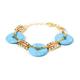Blue Howlite  Donut Shape Linked Bracelet (Size 7 with 1 inch Extender) in Stainless Steel