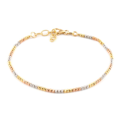 9K Yellow, White and Rose Gold Diamond Cut Beads Bracelet (Size 7 with 1 Inch Extender), Gold wt 2.86 Gms.