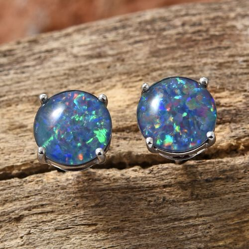 Australian Boulder Opal (Rnd) Stud Earrings (with Push Back) in Platinum Overlay Sterling Silver